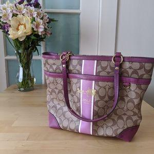Coach Heritage Stripe Tote Handbag 12358 BERRY